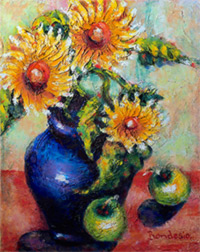 creative painting in oils